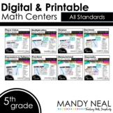 Fifth Grade Digital Math Centers Bundle   Distance Learning