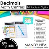 Fifth Grade Digital Math Centers Decimals   Distance Learning