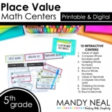 Fifth Grade Digital Math Centers Place Value   Distance Learning