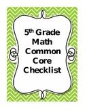 Fifth Grade Math Common Core Checklist