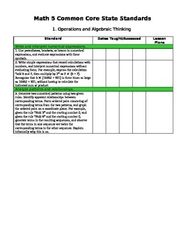 Fifth Grade Math Common Core Checklist