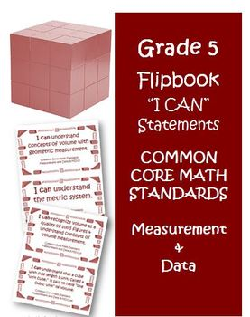 Fifth Grade Math Common Core Measurement and Data I Can Cards