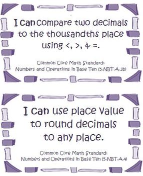 Fifth Grade Math Common Core Number and Operations Base Ten I Can Cards