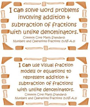 Fifth Grade Math Common Core Number and Operations Fractions I Can Cards