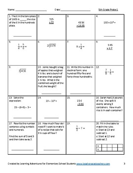 Fifth Grade Math Common Core Progress Monitoring Assessment Pack