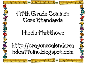 Fifth Grade Math Common Core Standards Rulers
