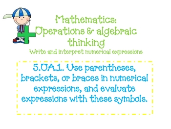 Fifth Grade Math Common Core Standards with clip art and doodle font