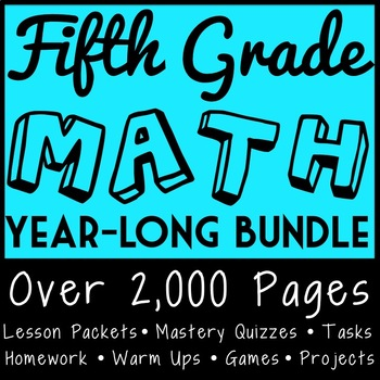 Fifth Grade Math Full Curriculum, CCSS Aligned Materials for the Entire Year!