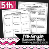 Fifth Grade Math Homework Sheets for Full Year
