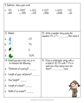 Fifth Grade Math Homework for the Year