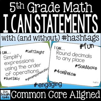 Fifth Grade Math I Can Statements
