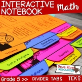 Fifth Grade Math Interactive Notebook: Divider Tabs for Or