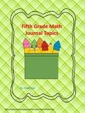 Fifth Grade Math Journal Topics