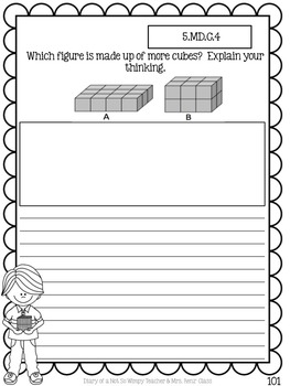 Fifth Grade Math Journal with 130 Prompts