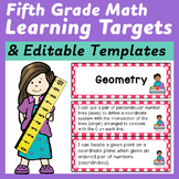 Fifth Grade Common Core Math I Can Statements and Editable