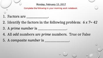 Fifth Grade Math Moring Work Review
