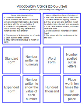Fifth Grade Math: Place Value Card Games and Activities Pack
