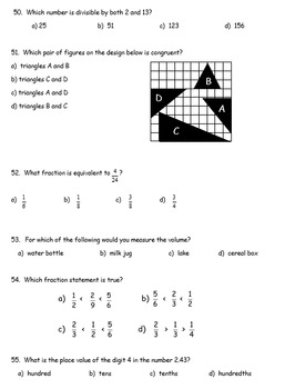 Fifth Grade Math Pretest (paper/pencil format)