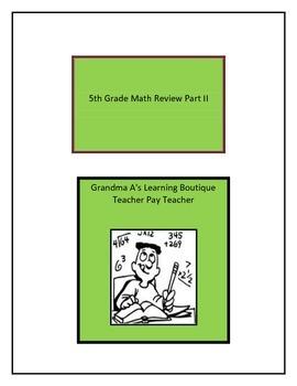 Fifth Grade Math Review Part II