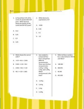 Fifth Grade Math Review Worksheet Packet - Volume 11