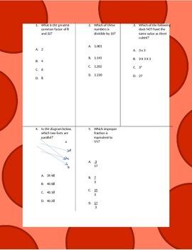 Fifth Grade Math Review Worksheet Packet - Volume 12