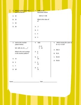 Fifth Grade Math Review Worksheet Packet - Volume 9
