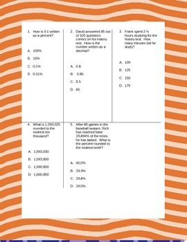Fifth Grade Math Review Worksheets Packet - Volume 5