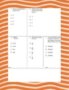 Fifth Grade Math Review Worksheets Packet - Volume 7