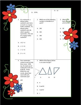 Fifth Grade Math Review Worksheets Packet - Volume 8