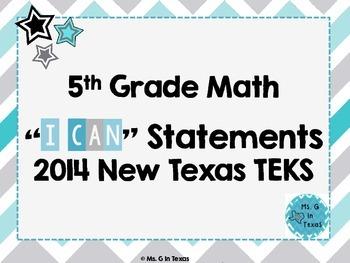 "Fifth Grade Math *Revised* TEKS ""I Can"" Statements- Chevron"