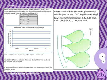 NEW Fifth Grade Math Spiral Choice Boards Set 3 Over 70 differentiated questions