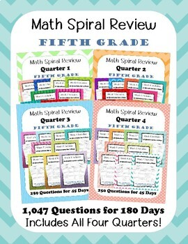 Fifth Grade Math Spiral Review: All Four Quarters for the Entire School Year!