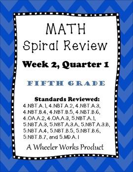 Fifth Grade Math Spiral Review, Quarter 1, Week 2