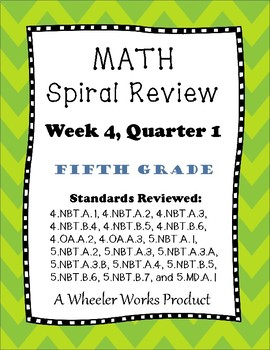 Fifth Grade Math Spiral Review, Quarter 1, Week 4