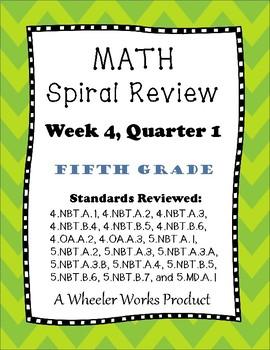 Fifth Grade Math Spiral Review, Quarter 1, Week 4