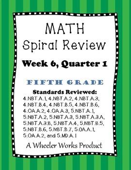 Fifth Grade Math Spiral Review, Quarter 1, Week 6