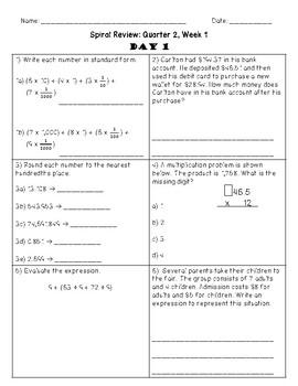 Fifth Grade Math Spiral Review, Quarter 2, Week 1