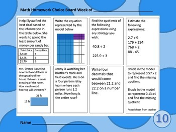 NEW! Fifth Grade Math Spiral Choice Boards Set 1: 80 Questions