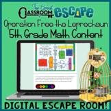5th Grade Math St. Patrick's Day Digital Escape Room Activity