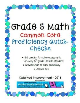 Fifth Grade Math Standards Proficiency Checks