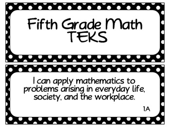 Fifth Grade Math TEKS NEWLY REVISED~ Black and White Polka Dot