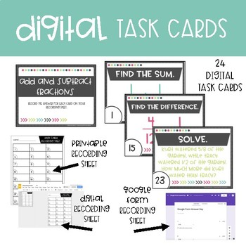Fifth Grade Math Task Cards ~ Add and Subtract Fraction