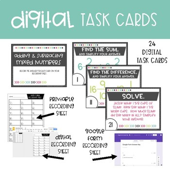 Fifth Grade Math Task Cards ~ Add and Subtract Mixed Numbers