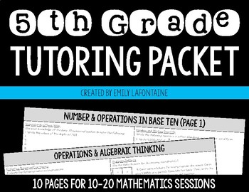 Fifth Grade Math Summer Tutoring Packet
