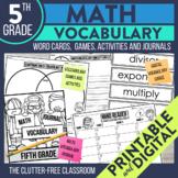 Fifth Grade Math Vocabulary Journals, Word Cards, Games an