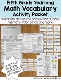 Fifth Grade Math Vocabulary Yearlong Activity Bundle