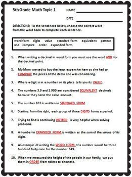 enVision Math Fifth Grade Vocabulary CLOZE Worksheet Activities