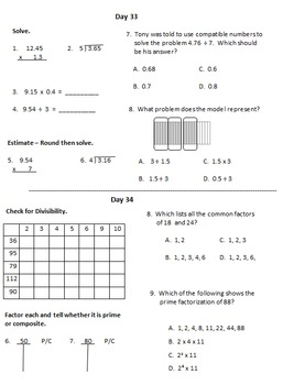 Fifth Grade Math Warm Ups