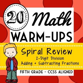 Fifth Grade Math Warm Ups, Bell Ringers, Morning Work, Set of 20, Part 4