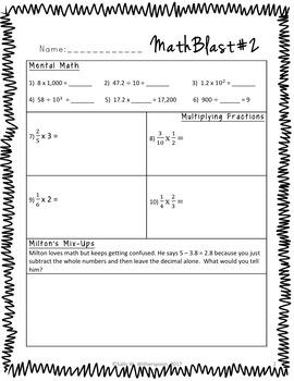 Fifth Grade Math Warm Ups, Bell Ringers, Morning Work, Set of 20, Part 6